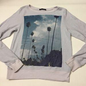 Wildfox palm tree scene sweater light blue XS